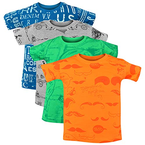 Luke and Lilly Boys' Cotton Half Sleeve Round Neck Printed T-Shirt (Green, Orange, Grey and Royal Blue, 5-6 Years) - Pack of 4
