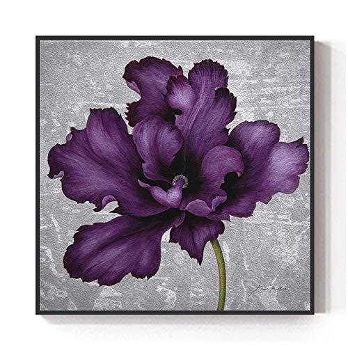 QVQIU Modern Wall Art Decor Abstract Big Purple Flower Canvas Painting para la Sala de Estar Dormitorio Elegant Plant Print Poster Sin Marco 40x40cm