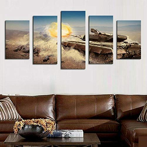 UOBSLBI Leinwanddrucke 5 Teilige Kampfpanzer Feuern Hd Prints Home Wall Art Decoration Pictures Modern 5 Pieces Painting On Canvas Poster(150 * 80Cm)