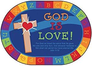 Carpets for Kids 83007 God Is Love Learning KID$ Value PLUS Rug - Oval 8' x 12'