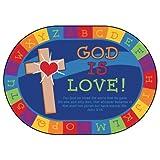 Carpets for Kids 83006 God is Love Learning Kid$ Value Plus Rug - Oval 6ft x 9ft