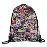 Etryrt Mochilas/Bolsas de Gimnasia,Bolsas de Cuerdas, Sticker Wall Color Paper Decoration Print Drawstring Backpack Rucksack Shoulder Bags Gym Bag Sport Bag