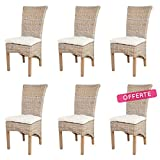 Rotin Design Black Friday Week: -60% Lot de 6 chaises TAO en kubu