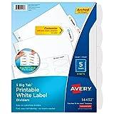 Oferta Avery Divisórias brancas de etiquetas grandes com fácil remoção, 5 abas, 4 conjuntos (14432) por R$ 104.09