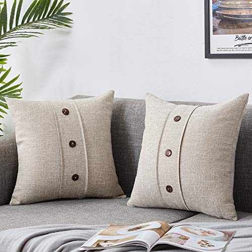 Bedwin Throw Pillow Covers 2 Pack Button Farmhouse Linen Rustic Decorative Pillowcases for Sofa, Couch Chair, Living Room 18 x18 Inches