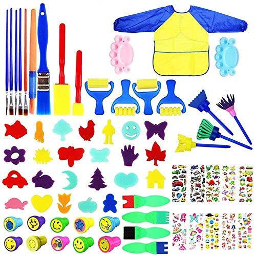 Kits de Pinceles de Esponja,TOPSEAS 68pcs Juego de Herramientas de Pintura para Niños Cepillos de Dibujo de Esponja para Arte,Kit de Dibujo para Aprendizaje Temprano