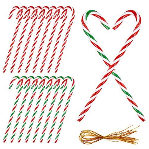 MELLIEX 16 Piezas Bastón de Caramelo de Navidad, Adornos bastón de Caramelo de Plástica de Retorcido para Fiesta de Decoración de Árbol de Navidad Adornos Colgantes