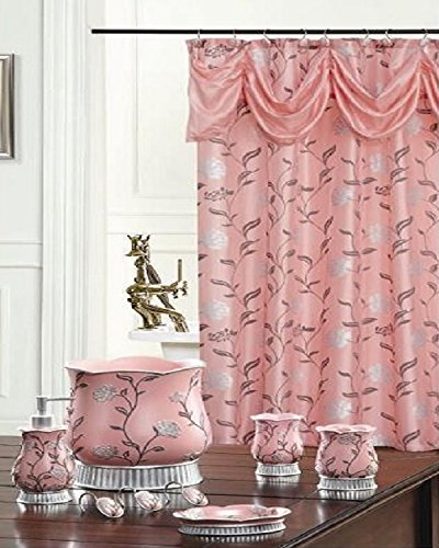 BH Home & Linen Decorative Scarf Shower Curtain with Floral & Striped Designs 70' x 72 Inch Made of 100% Polyester. (Victoria Pink)