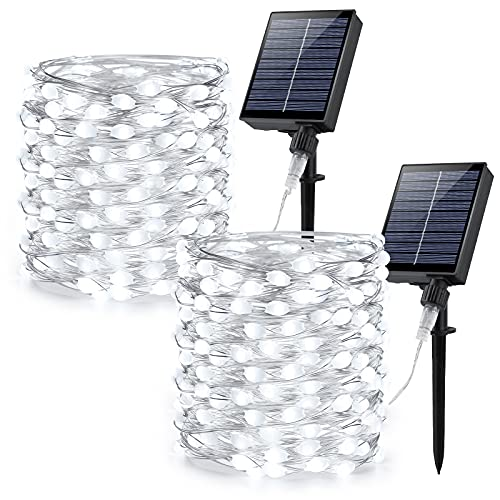 Brizled Solar Lights Outdoor String, 2 Pack 66ft 200 LED Super Bright Large Lamp Beads Solar String Lights, Solar Fairy Lights Waterproof, 8 Modes Solar Twinkle Lights for Garden Party, Cool White