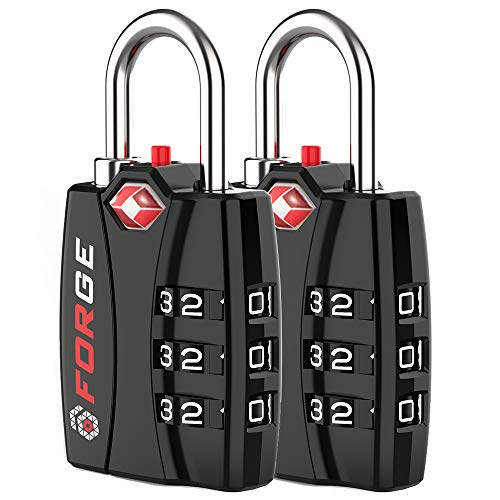 Forge TSA Approved Luggage Locks 2 Pack - Open Alert Indicator, Alloy Body for Travel Luggage,...