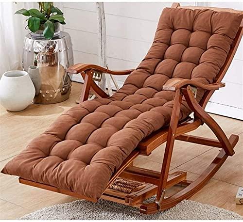 FMOGQ Silla plegable para jardín, tumbonas ajustables al aire libre con cojín, silla plegable de bambú para patio o playa, balcón, parque o camping