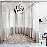 EURmermaid Cortina de la Ducha,Lámpara Retro Ventana Medieval Simplicidad,con 12 Ganchos de plástico Cortinas de baño Decorativas 72x84 Pulgadas