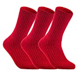 Lovely Annie Women's 3 Pairs Wool Knitted Socks One Size 6-9 (Red)