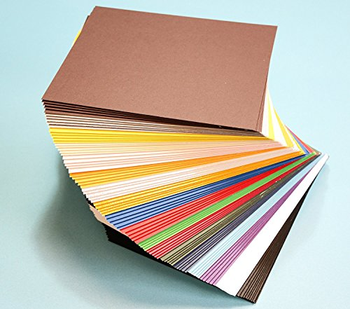Pack of 100 MIXED COLORS 7.5'x9.5' UNCUT Mat Board / Matboard Blanks for Framing / Crafting