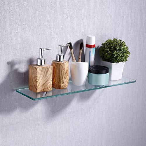 Umi. por Amazon Estanterías para baño Estante de vidrio para ducha Bandeja de baño de vidrio templado Cesta de ducha Organizador de baño en la Pared 50 x 13 cm, Soporte Cromado Pulido
