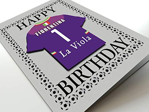 MyShirt123 UEFA Champions League & Euro League Fußball Themed Geburtstagskarten – jeder Name, Jede Nummer und jedes Team – kostenlose Personalisierung, Canvas, ACF Fiorentina Geburtstagskarte