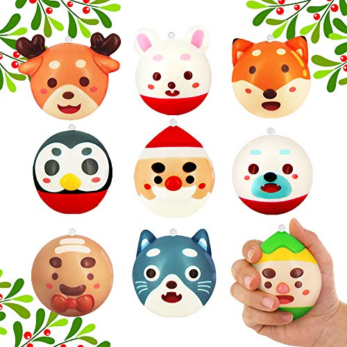 heytech 9 Packs Squishies Toys for Christmas Slow Rising Christmas Santa Jumbo SQUISHIES with Hanging Ring, Christmas Decoration Christmas Ornaments Hang on Christmas Tree for Kids Gift