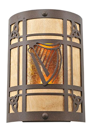 Meyda Tiffany 108827 Celtic Harp Wall Sconce, 9' Wide