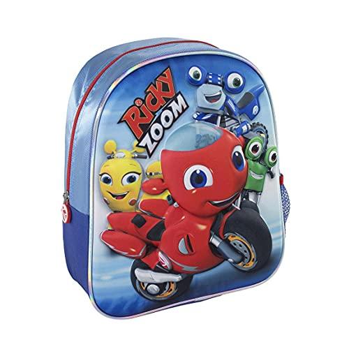 CERDÁ LIFE'S LITTLE MOMENTS Jungen Schulrucksack Ricky Zoom 3D Rucksack Kinder-Offizielle Nickelodeon Lizenz, Blau, Standard