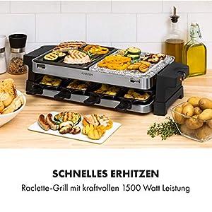 Klarstein Sirloin Raclette-Grill, 1500 Watt, 2-in-1: Aluminium-Grillplatte & Natursteinplatte, Edelstahl-Heizelement, regulierbarer Thermostat, für 8 Personen, Raclette-Pfannen aus Stahl