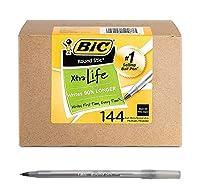 BIC ラウンド スティック エクストラライフ ボールペン 中細 (1.0mm) ブラック 144本 (2パック)