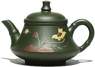 Clay teapot, Tea Set, Kungfu Tea, Handmade Purple Sand, Oriental Portable Gift, Painted-Green