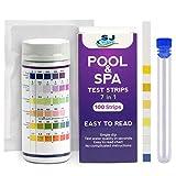 Tiras de prueba de agua 7 en 1 | Kit de prueba de calidad de agua rápido y preciso para piscina y spa | Tira detecta pH, cloro, bromo, dureza total, alcalinidad y ácido cianúrico (100 tiras)