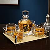 Classic Monogram Whiskey Decanter Tray with Glasses 6 pc Set (Personalized Product)
