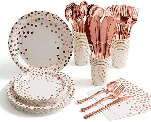 175 Pieces Rose Gold Party Supplies Rose Gold Dot on White Paper Plates and Napkins Cups Silverware product image