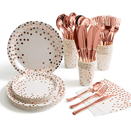 175 Pieces Rose Gold Party Supplies - Rose Gold Dot on White Paper Plates and Napkins Cups Silverware Serves 25 Sets for Wedding Bridal Shower Engagement Birthday Parties