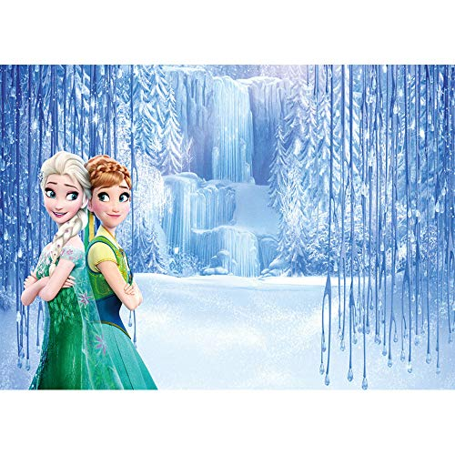 Photography Background 3x5ft Frozen Theme Photo Backdrop for Baby Shower Seamless Photo Background Vinyl Anna and Elsa Disney Princess Backdrops for Birthday Party