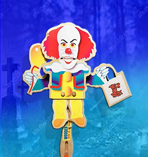 Halloween Wooden Hand Puppet- Scary Clown