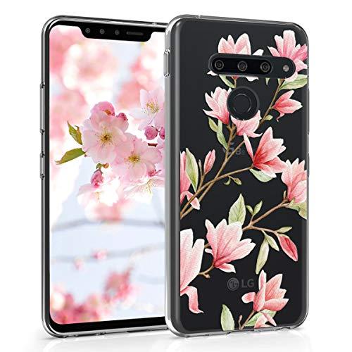 Preisvergleich Produktbild kwmobile Hülle kompatibel mit LG G8s ThinQ - Handyhülle - Handy Case Magnolien Rosa Weiß Transparent