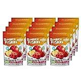 Mezcla de frutas secas de VitaLio - Snack de frutas liofilizadas Summer Fusion - Manzana, Fresa, Frambuesa 100% de fruta pura - Sin aditivos - Rico en nutrientes y vitaminas - Calorías bajas (12x20g)