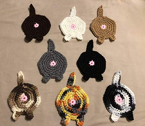 Free shipping to USA included in price - set of 4 100% acrylic yarn CAT BUTT COASTERS - your choice of colors