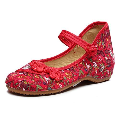 Mary Jane Leinwand Kleine Fowers Stempel Frauen Chinesische Knotting Schuhe Casual Wohnungen Weiche Sohle Schuhe (Rot,38 EU)