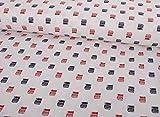 Qualitativ hochwertiger Baumwoll Stoff mit Doppeldecker Bus