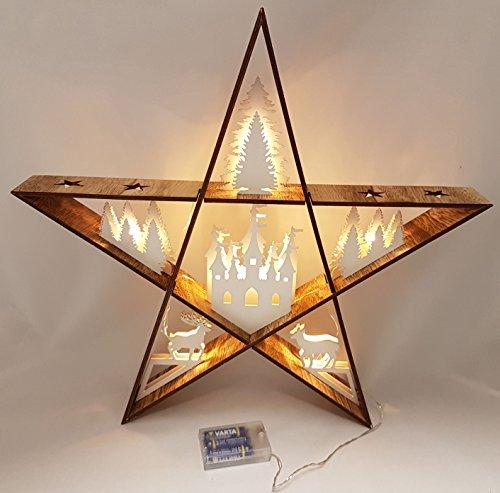 Beleuchteter Holz Deko Stern - LED Leuchte mit 6 Motiven - Weihnachtsdeko Fensterdeko