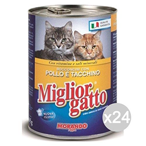 Set 24 MIGLIOR GATTO Poulet-Turquie Piqûres 400R. Aliments Pour Chats