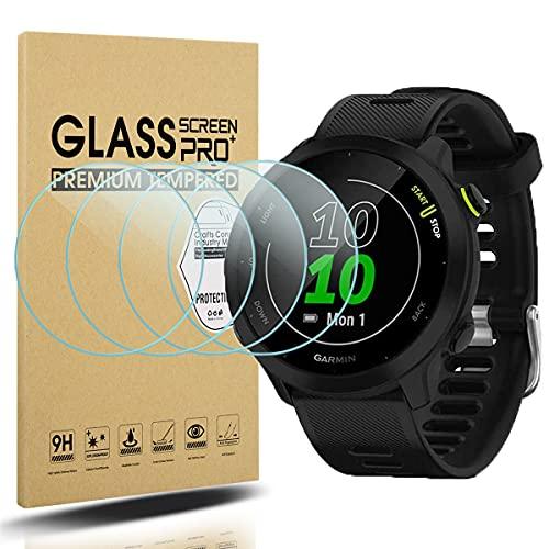 Diruite Pack de 4 protectores de pantalla para Garmin Forerunner 55 de cristal templado para Garmin Forerunner 55 Smart Watch [dureza 2.5D 9H] [antiarañazos] [versión optimizada]