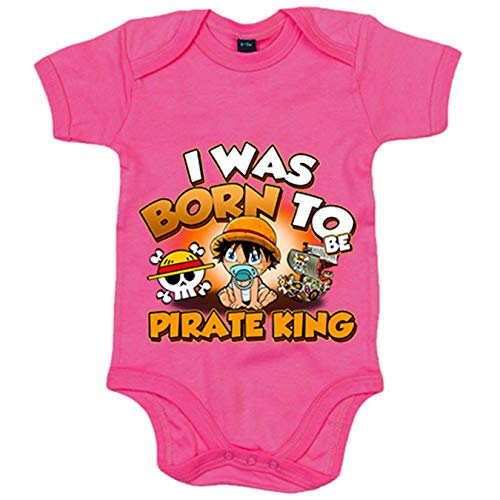 Body bebé I was born to be pirate Baby Monkey D Luffy king parodia One Piece - Rosa, 6-12 meses