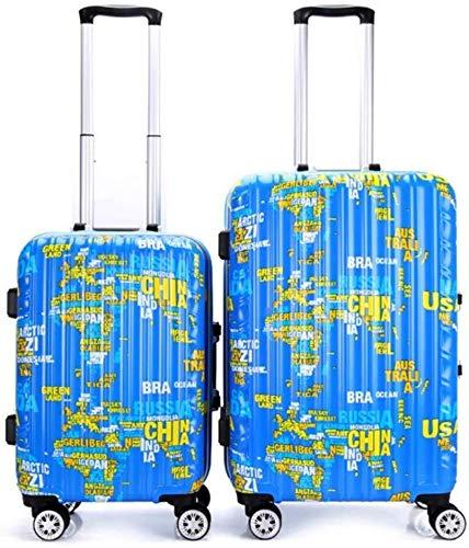 Koffer Reise-Koffer 20in 24in Reise-Gepäck-Trolley Weltkarte Drucken Hardshell 2 Stück Spinner Gepäck Nested Set for Frauen Koffer Carry-on Bürststaubsauger Koffer 360 Grad;Silent-Spinner Multidirecti