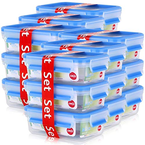 Emsa 508570 Rechteckige Frischhaltedosen mit Deckel, 3 x 0,55 liter, Transparent/Blau, Clip & Close (6er Pack)
