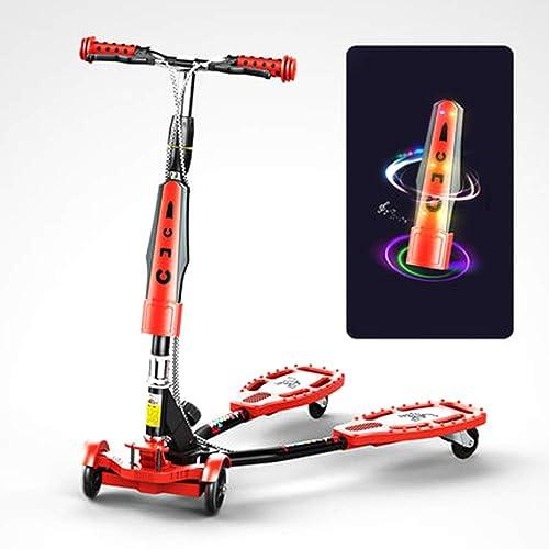 SSLHDDL Kinderroller Dreiradscooter mit PU LED Leuchtenden R r und 3 Stufen Einstellbare H  Doppel-Hinterrad Big Wheel für Kinder 3-12 Jahre bis 80KG