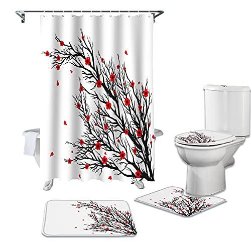 LHGBGBLN 4-teiliges Duschvorhang-Set schwarzer AST Distel-Duschvorhang-Set WC-Abdeckung Bad rutschfeste Matte wasserdichter Badvorhang