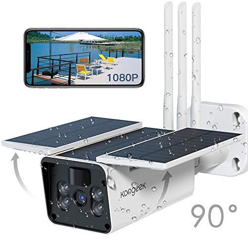 Akku Überwachungskamera aussen, WLAN Kamera Outdoor mit Solarpanel von Koogeek, WLAN IP Kamera Argus Pro 2,4GHz WiFi, 1080p HD, PIR Bewegungsmelder, 2-Wege-Audio und SD Kartenslot