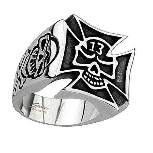 Piersando Herren Ring Edelstahl Biker Totenkopf mit Eisernes Kreuz Lucky 13 Motiv Herrenring 21,5mm Breit Silber Größe 60 (19.1)