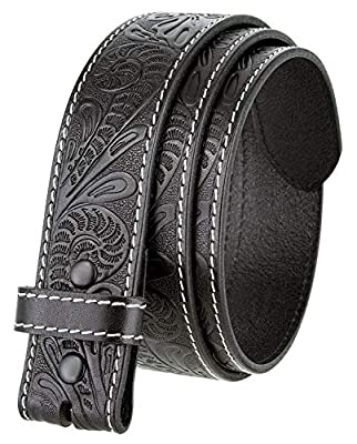 "Western Floral Engraved Tooled Full Grain Leather Belt Strap 1.5"" (Black 38)"