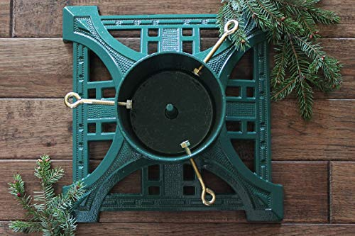 John Wright Green Cast Iron Live Tree Stand Powder Coated 14' Square Holds 5' D
