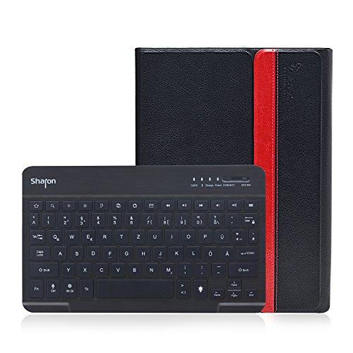 Sharon Galaxy Tab 4 10.1 SM-T530 SM-T535 Hülle mit beleuchteter Bluetooth - Tastatur | Ultraslim Schutzhülle | QWERTZ- Layout (Deutsch) | Tastatur herausnehmbar | Hintergrundbeleuchtete Tasten, Farbe einstellbar